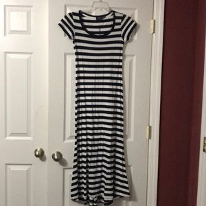 Xs blue and white striped polo maxi dress